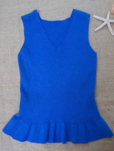 V Neck Knit Tank Top Avec Flounce - Bleu ONE SIZE