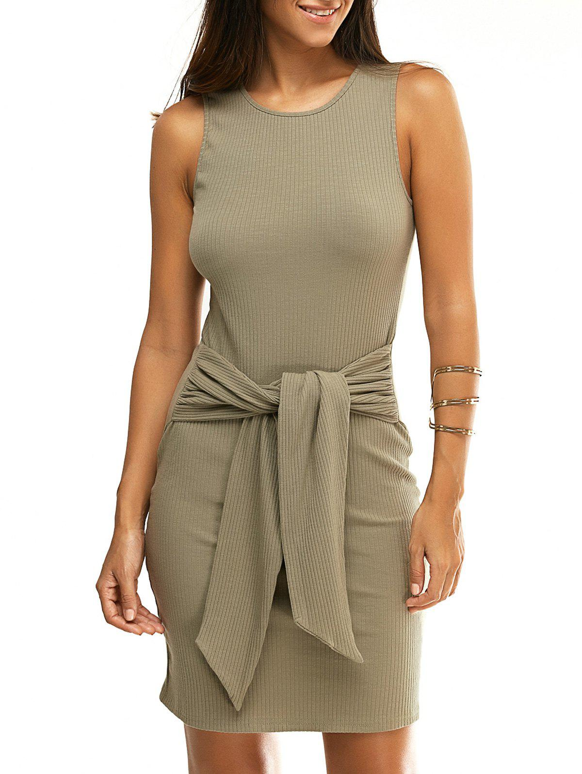 Fashionable Sleeveless Round Collar Pure Color Skinny Knotted Women's Dress - PEA GREEN L