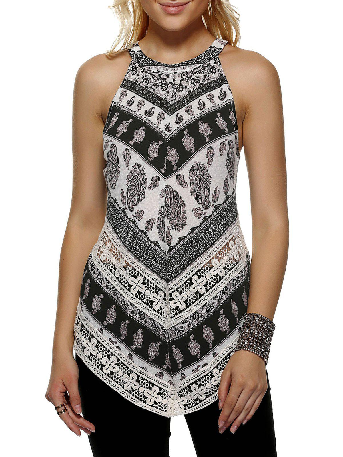 Fashionable Women's Round Neck Print Loose-Fitting Tank Top - COLORMIX XL
