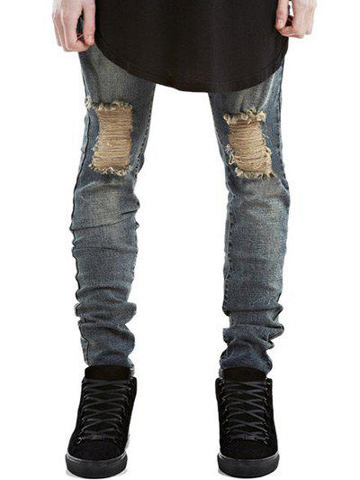 Skinny Zipper Fly Frayed Ripped Jeans - METALLIC 29