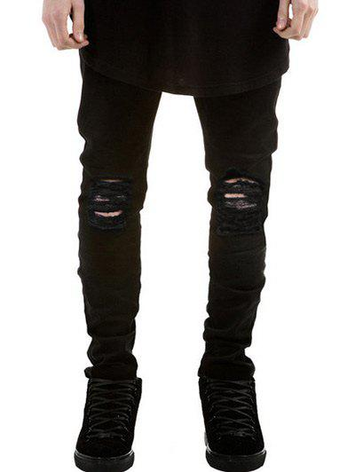 Skinny Zipper Fly Frayed Ripped Jeans - BLACK 28