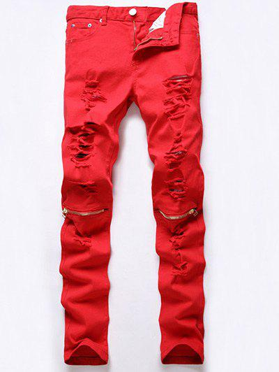 Ripped Five-Pocket Rivet Embellished Zip Knee Jeans - RED 28