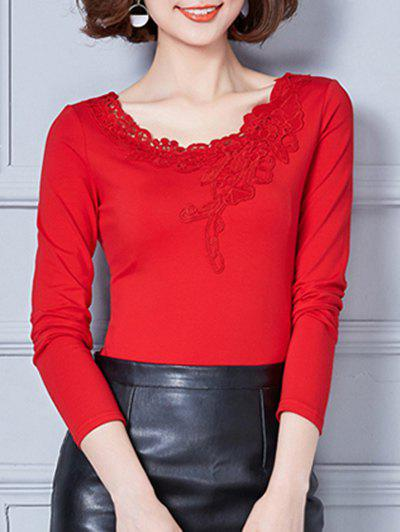 Scoop Neck Patch Design Slimming T-Shirt - RED 2XL