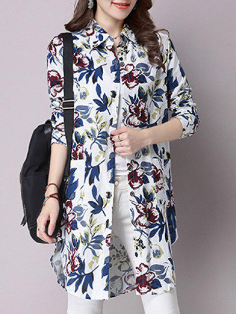 Floral Print Button-Down Pocket Design Shirt - DEEP BLUE L