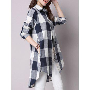 Asymétrique Bouton-Down Pocket design Plaid Shirt - Cadetblue M