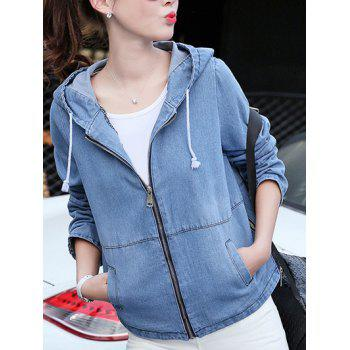 Hooded Zippered Pocket Design Denim Jacket