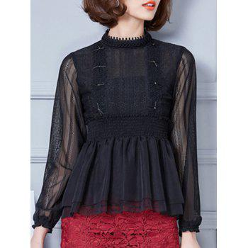 Buy Beaded Lace Splicing Peplum Blouse BLACK