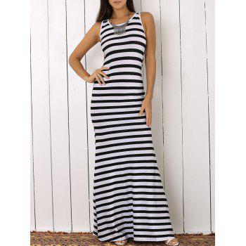 Sleeveless Striped Open Back Maxi Dress