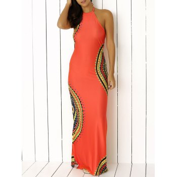Halter Scalloped Print Backless High Neck Maxi Boho Dress