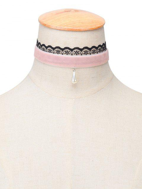 Perle artificielle Velvet Water Drop Choker - Rose