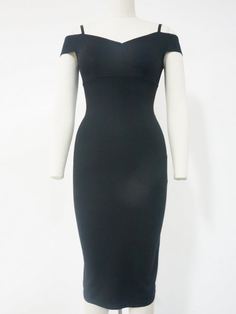 Spaghetti Strap Cold Shoulder Bodycon Dress - BLACK M