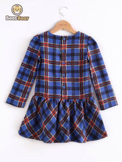 Design Bouton de manches longues Mini-robe Plaid - Bleu CHILD-5