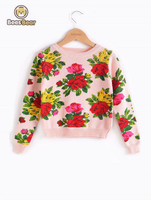 Sleeve Floral Print long Pull - Rose CHILD-8