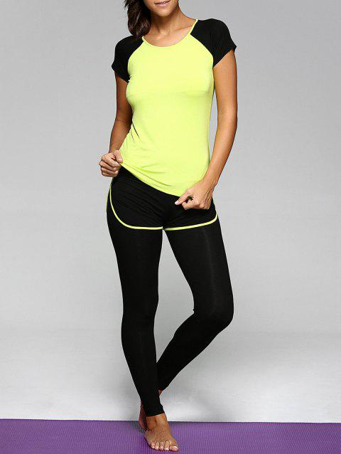 Scoop Neck Top and Bicolor Leggings Suit - NEON GREEN 2XL