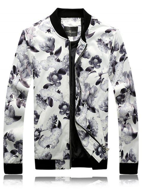 Stand Collar Long Sleeve 3D Floral Print Rib Splicing Design Jacket - COLORMIX M