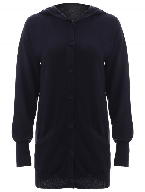 Puff Sleeves Buttoned Hooded Cardigan - PURPLISH BLUE L