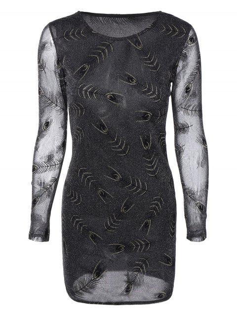 Long Sleeves See-Through Feather Bodycon Dress - BLACK L