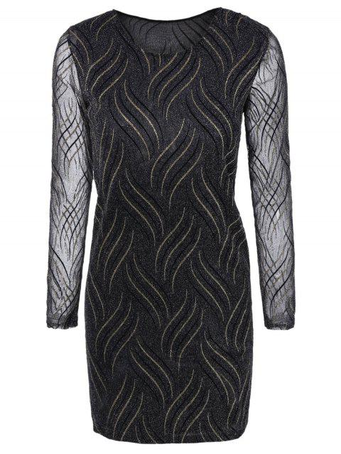Long Sleeves See-Through Striped Bodycon Dress - BLACK M