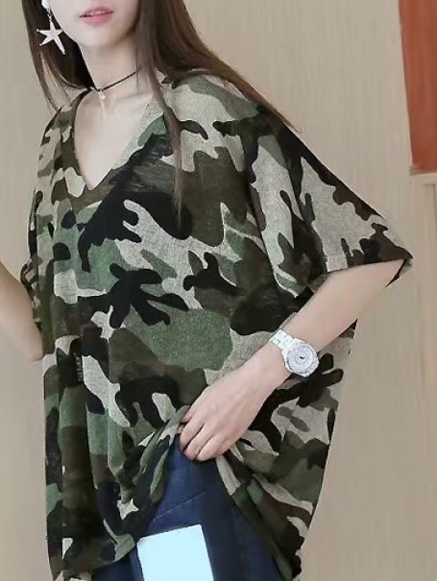 Ample col en V manches courtes T-shirt Camouflage - Camouflage ONE SIZE(FIT SIZE XS TO M)