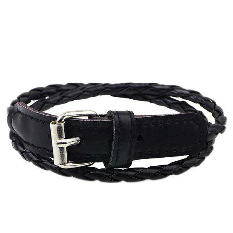 Faux Leather Woven Bracelet - BLACK
