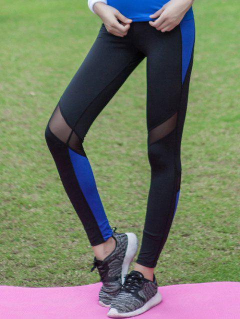 Stretchy Tulle Spliced Color Block Quick Dry Leggings - BLUE M