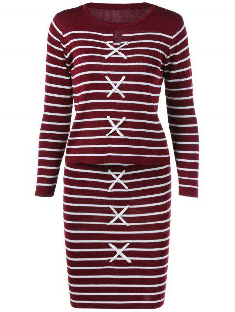 Striped Top + Furcal Skirt Twinset - RED/WHITE ONE SIZE