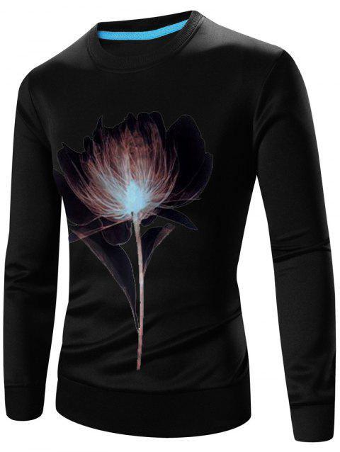 Long Sleeves 3D Flower Print Crew Neck Sweatshirt - BLACK M