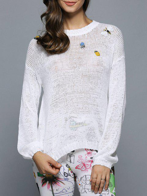 Bell Sleeve Beaded Hollow Out Knitwear - WHITE ONE SIZE