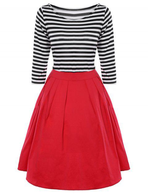 Striped Pleated A Line Dress - BLACK/WHITE/RED M