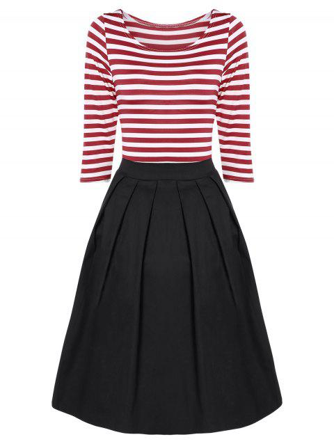 Striped Pleated A Line Dress - RED/WHITE S