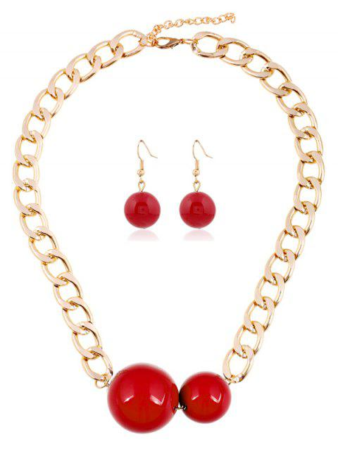 Alloy Round Ball Chain Jewelry Set - RED