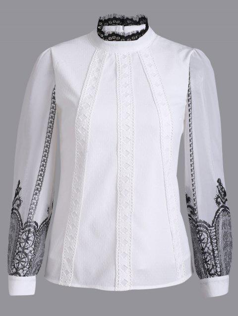 Long Sleeve Ribbed Lace Blouse - WHITE M