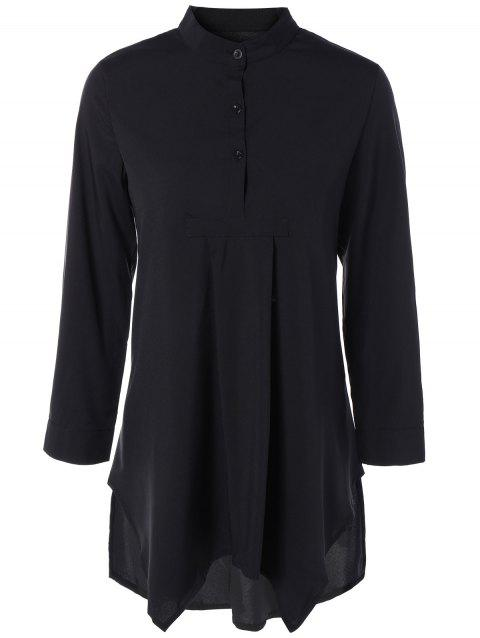Asymmetric Long Sleeves Blouse - BLACK S