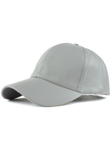 d9f766980d7 Casual Curved Brim Faux Leather Baseball Hat