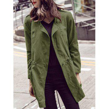 Long Sleeve Pure Color Trench Coat
