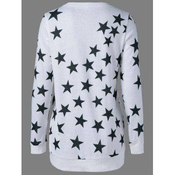 Star Print Long Sweatshirt - WHITE S