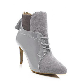Splicing Tassels Elastic Band Ankle Boots