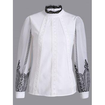 Long Sleeve Ribbed Lace Blouse - WHITE S