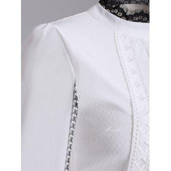 Long Sleeve Ribbed Lace Blouse - S S