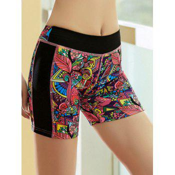 Printed Quick Dry Sporty Running Shorts - RED RED