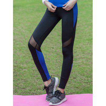 Stretchy Tulle Spliced Color Block Quick Dry Leggings
