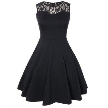 Sleeveless Lace A Line Party Swing Skater Dress - BLACK BLACK