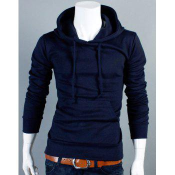 Slimming Drawstring Hooded Front Pocket Solid Color Long Sleeves Men's Thin Hoodie
