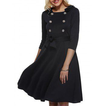 Vintage Half Sleeves Belted Buttoned Swing Dress