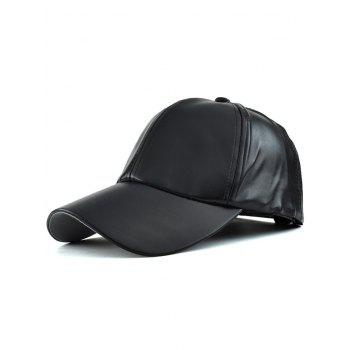 Casual Curved Brim Faux Leather Baseball Hat