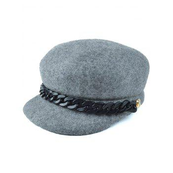 Casual Chunky Chain Embellished Felt Newsboy Hat