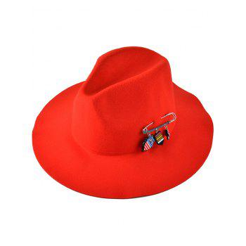 Casual Pendant Safty Pin Embellished Felt Jazz Hat