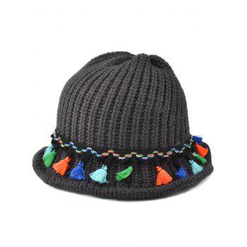 Casual Tassel Pendant Lace-Up Embellished Knitted Beanie