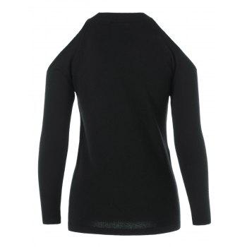 Col rond manches longues Voile Splicing Sweater - Noir ONE SIZE