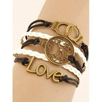 Buy Hollowed Clock Handcuffs Braided Bracelet COLORMIX